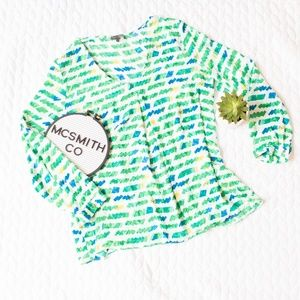 Vince Camuto | Watercolor Green Long Sleeve Blouse